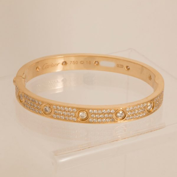 18k Gold Cartier Love Bracelet Diamond Paved Size 16